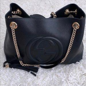 Gucci 308982 Soho Black Leather Chain Strap